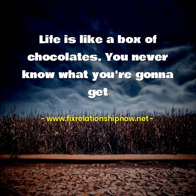 Life is like a box of chocolates. You never know what you're gonna get