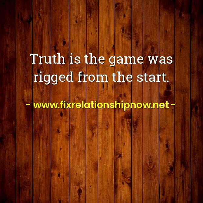 Truth is the game was rigged from the start